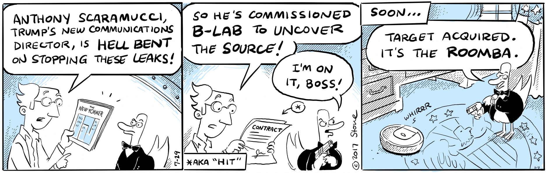 B-Lab discovers that working in the White House sucks. @Scaramucci @iRobot #Roomba #webcomic
